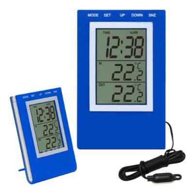 Termometr elektroniczny z zegarem - niebieski