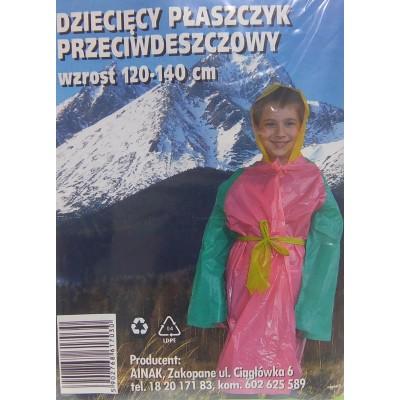 Dziecięcy płaszczyk przeciwdeszczowy wzrost 120-140 cm